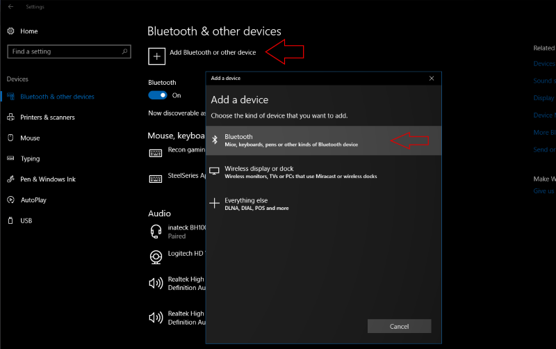 how to add bluetooth device to windows 10