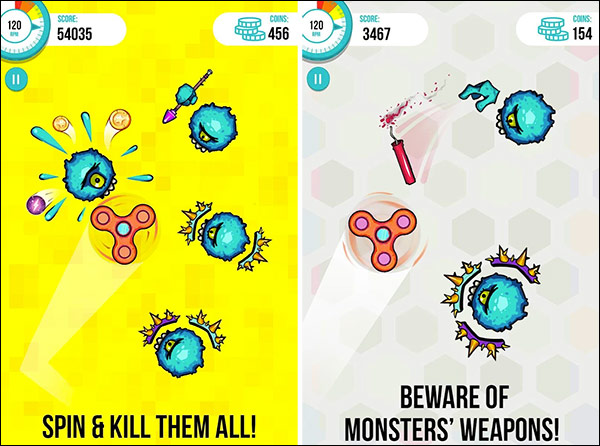 Spinners vs. Monster App for Android and iPhone